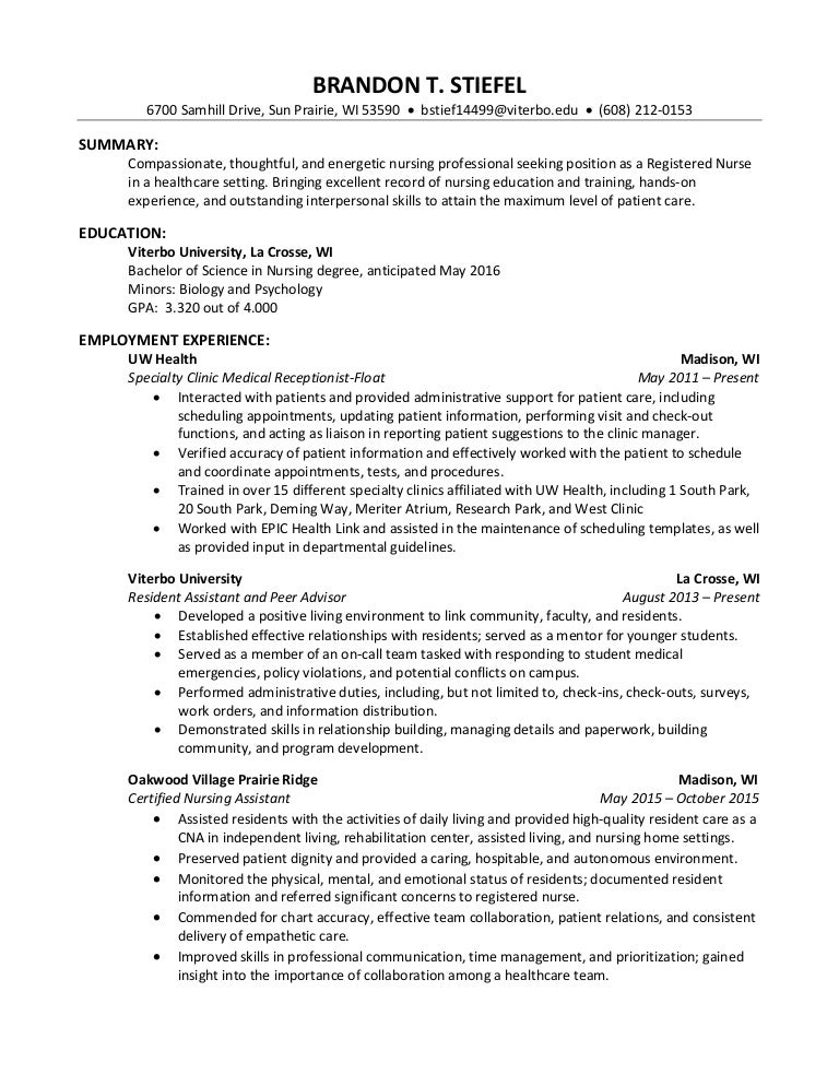 professional nursing resume brandon stiefel - Professional Nurse Resume Template