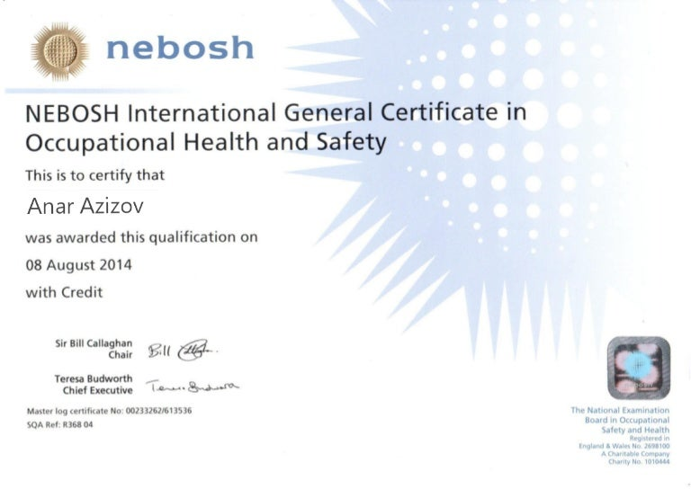 NEBOSH International General Certificate In Occupational Health And S