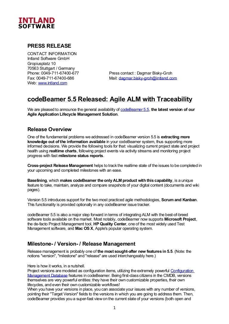 Agile alm with traceability release of codebeamer 55 1betcityfo Image collections