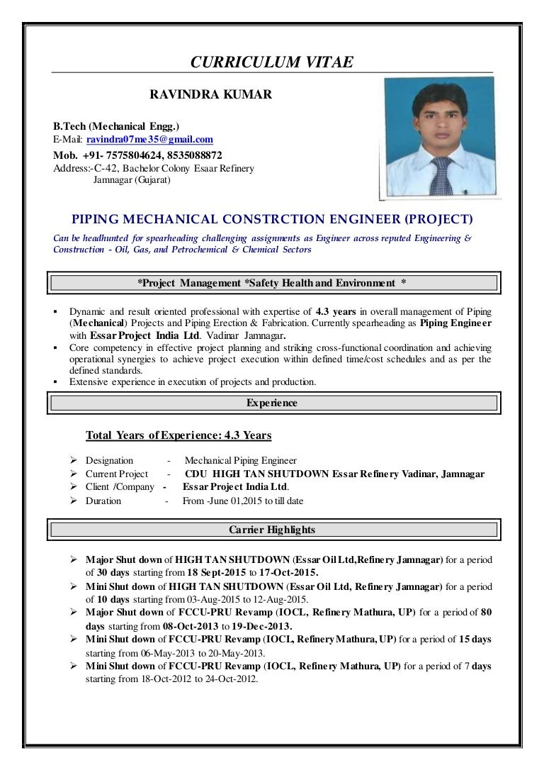 ravindra b tech in piping mechanical engg with 4 3 years exp in oi