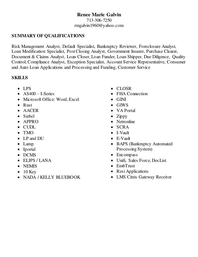 reneegalvin updated resume 012016 - Loan Closer