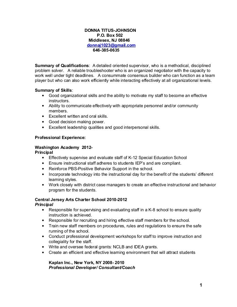 DONNA TITUS Johnson Resume 2015
