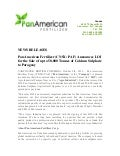 Pan American Fertilizer Corp. (CNSX: PAF) Announces LOI for the Sale of up to 50,000 Tonnes of Calcium Sulphate to Paraguay