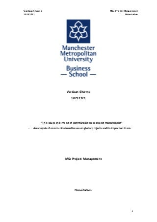 Master thesis in engineering project management