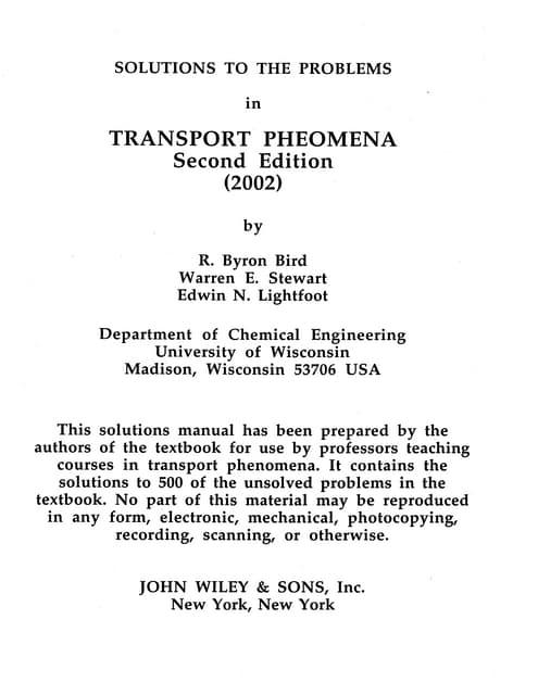transport phenomena 2nd ed by bird stewart lightfoot solution manual rh slideshare net Transport Phenomena Equations Transport Phenomena Textbook