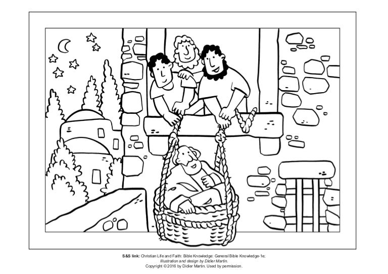 Coloring Page The Acts Of Apostles Saul Escapes In A Basket