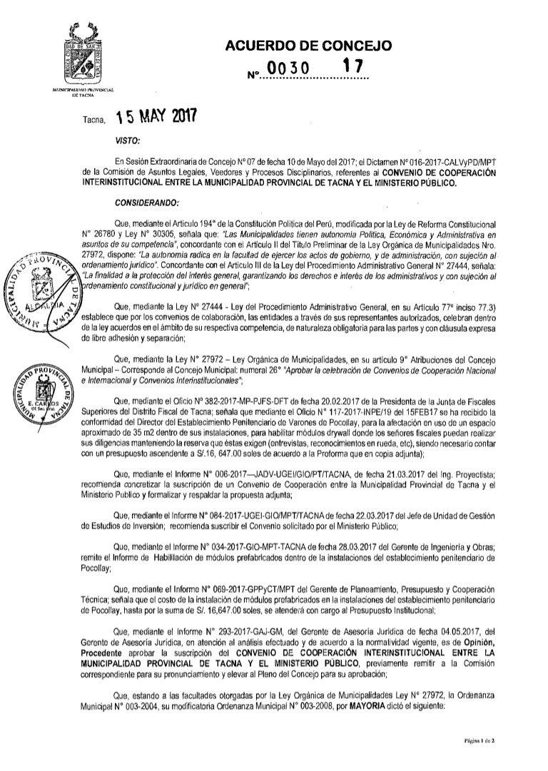 Convenio Fiscalía Y Municipalidad De Tacna Investigada