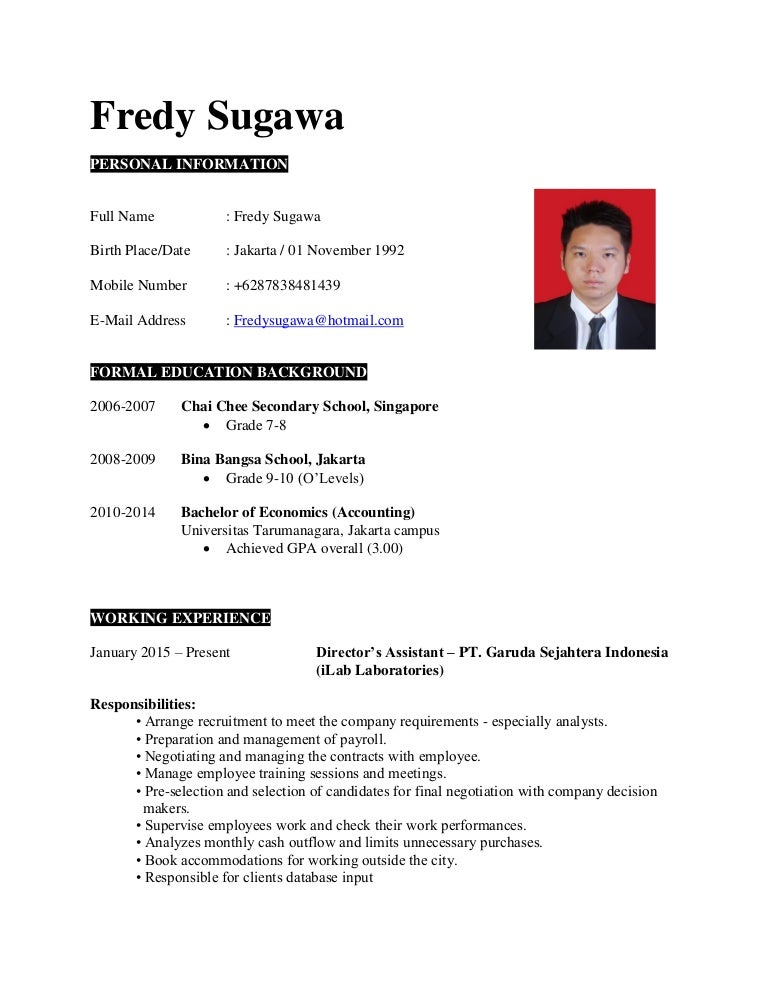 Resume Sample Resume By Jobstreet cv jobstreet