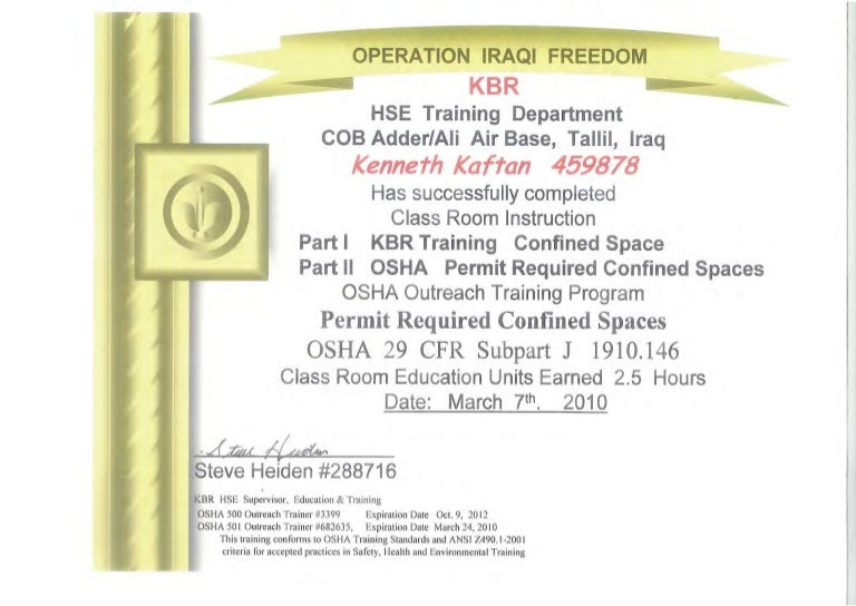Confined Space Certification