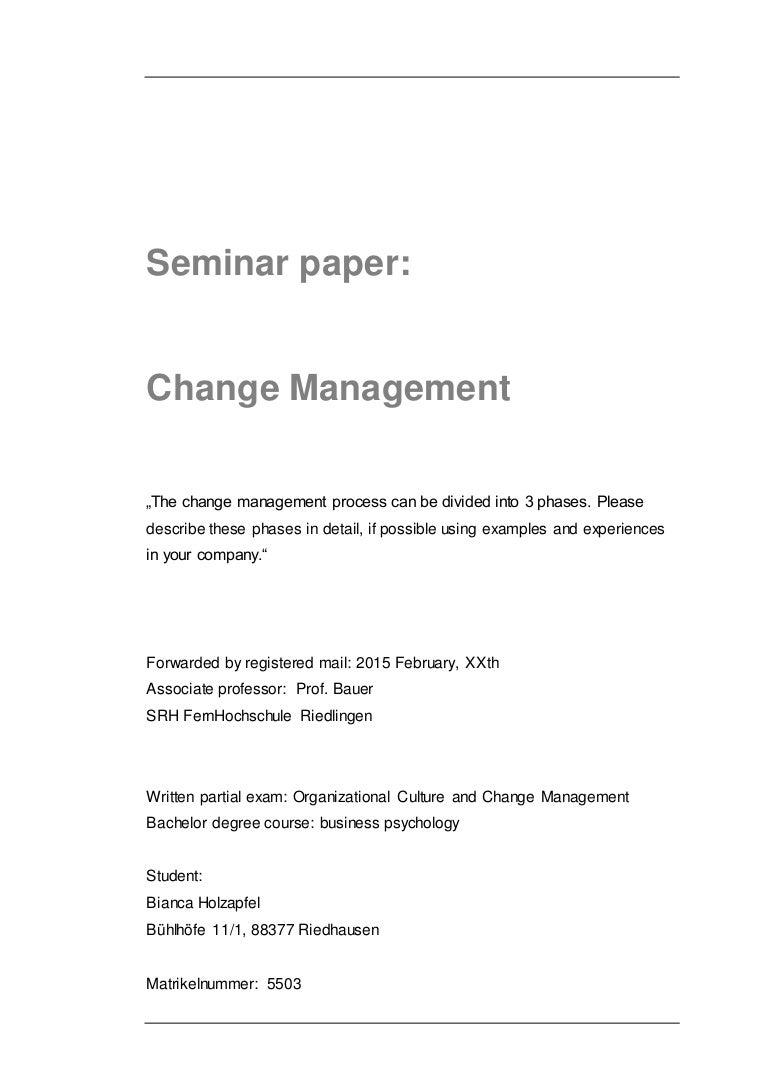 Hausarbeit change management master internationale soziale arbeit