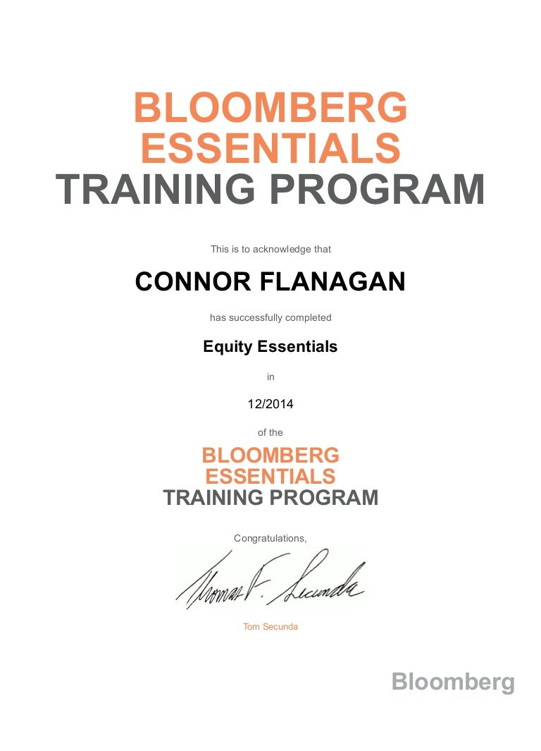 Bloomberg certification 1betcityfo Gallery