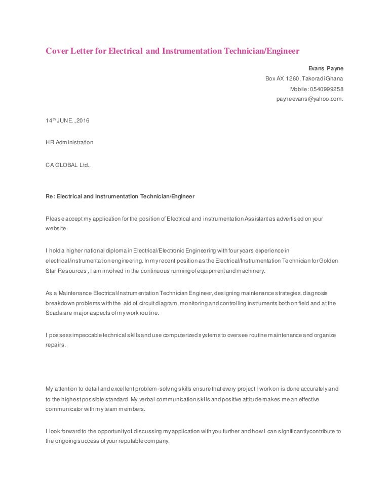 Cover Letter for Electrical and Instrumentation Technician