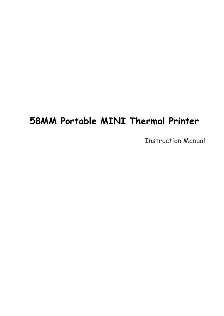 58 mm mini portable thermal printer instruction manual