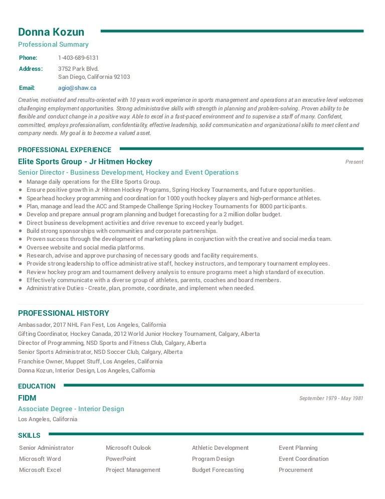 Donna Kozun Resume 2017