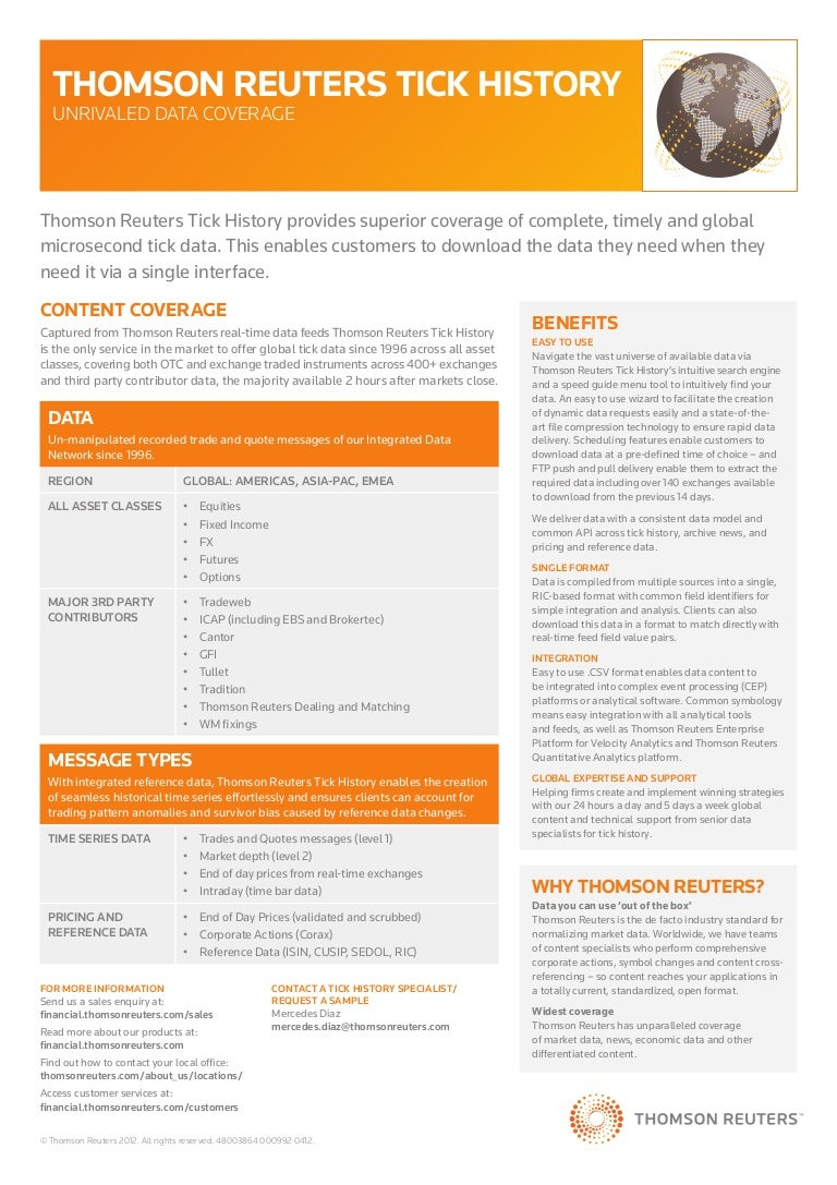 Thomson Reuters Tick History Overview