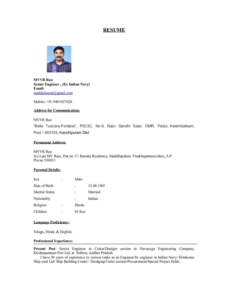 resume rao mvvr - Us Navy Address For Resume