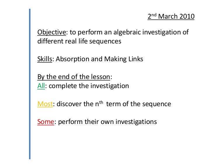 5) algebraic investigation