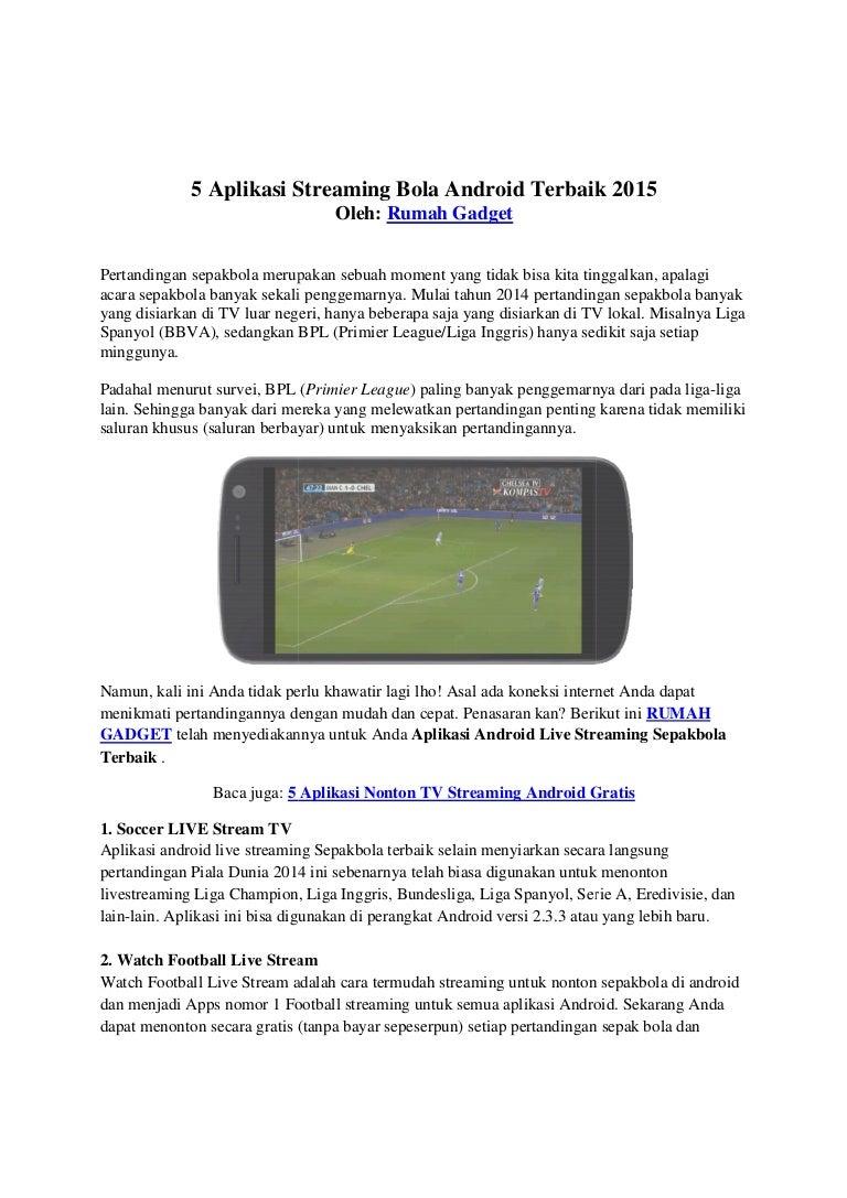 5 Aplikasi Streaming Bola Android Terbaik 2015