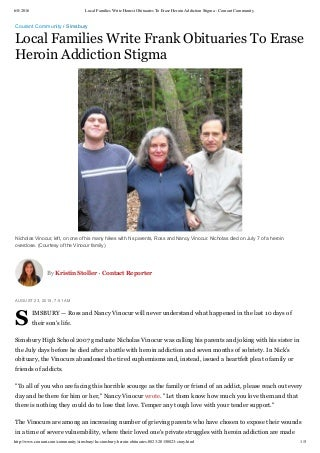 Local Families Write Honest Obituaries.n Addiction Stigma - Courant Community