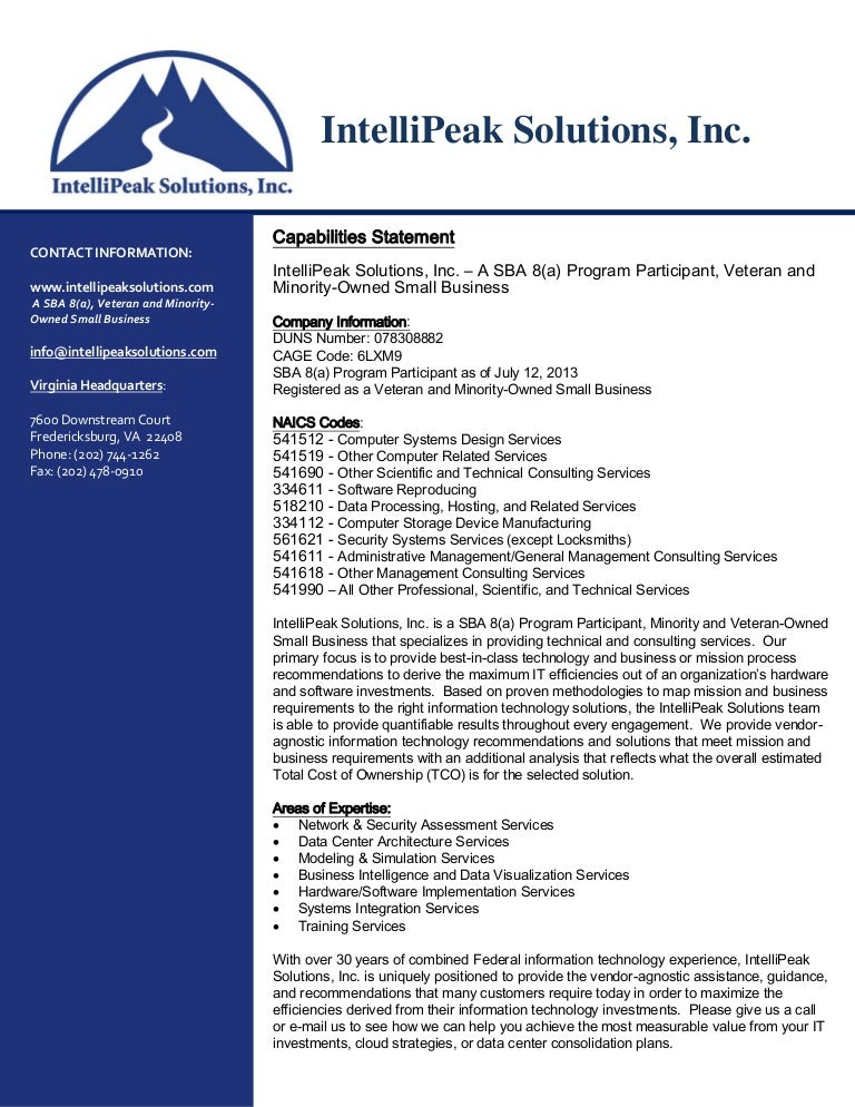 Intellipeak Solutions Capabilities Statement