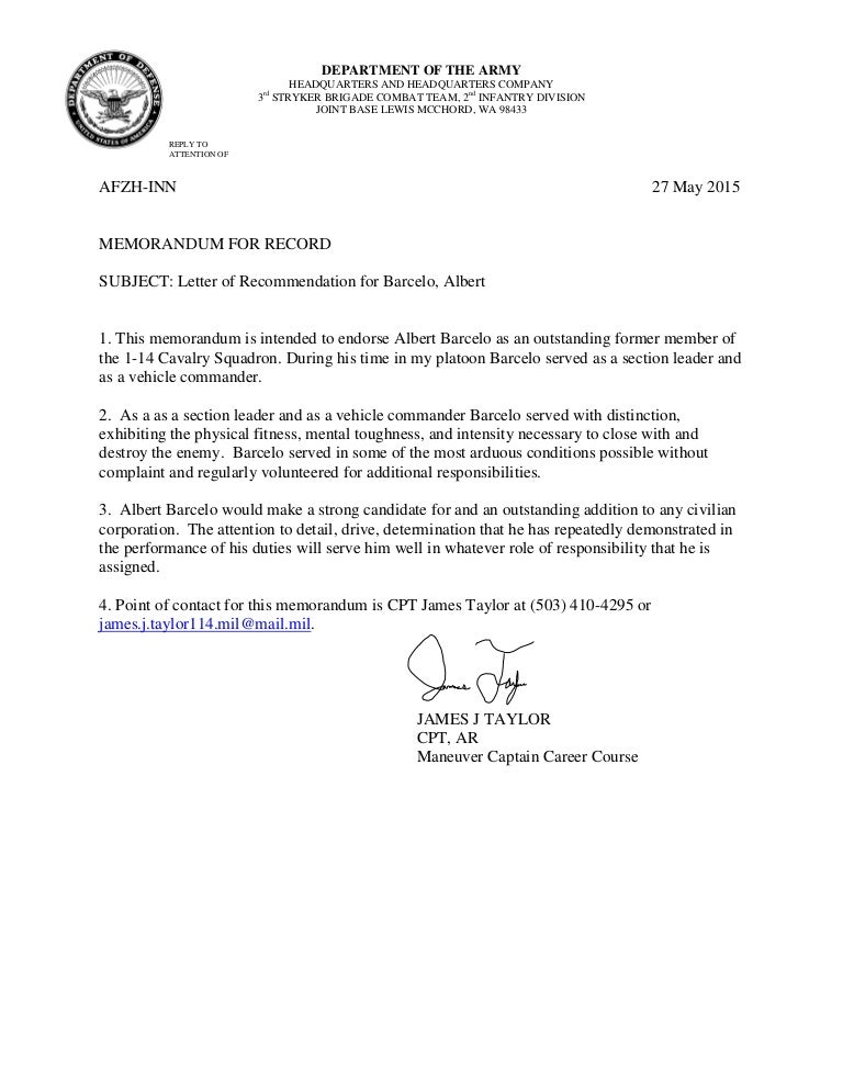 Letter Of Reference Example For Graduate School
