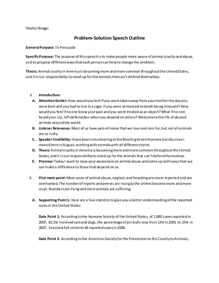 Problem-Solution Speech Outline