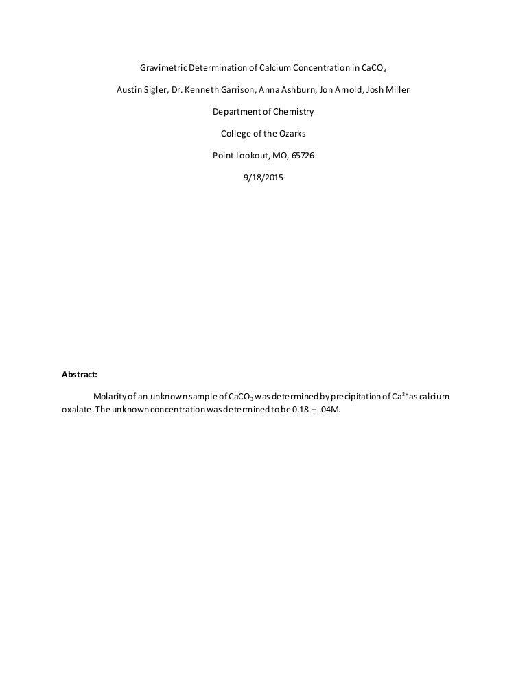 gravimetric determination of calcium as cac2o4 h2o conclusion