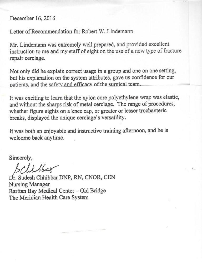 nursing manager - recommendation letter