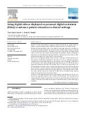 Using digital videos displayed on personal digital assistants (pd_as) to enhance patient education in clinical settings