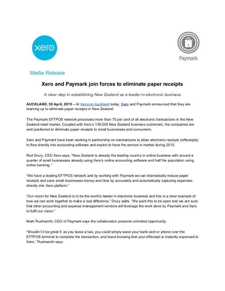 xero and paymark join forces to eliminate paper receipts