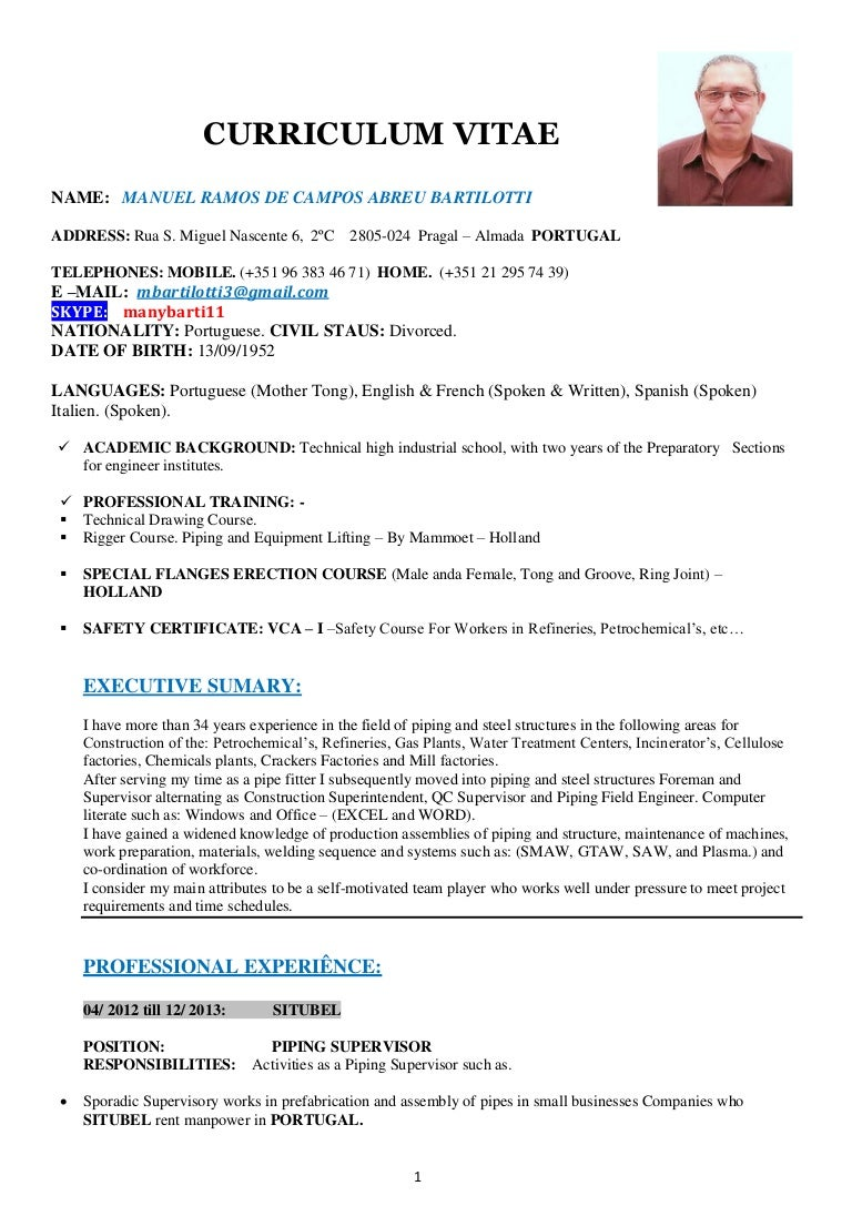 resume piping supervisor wordpress galley templates printable