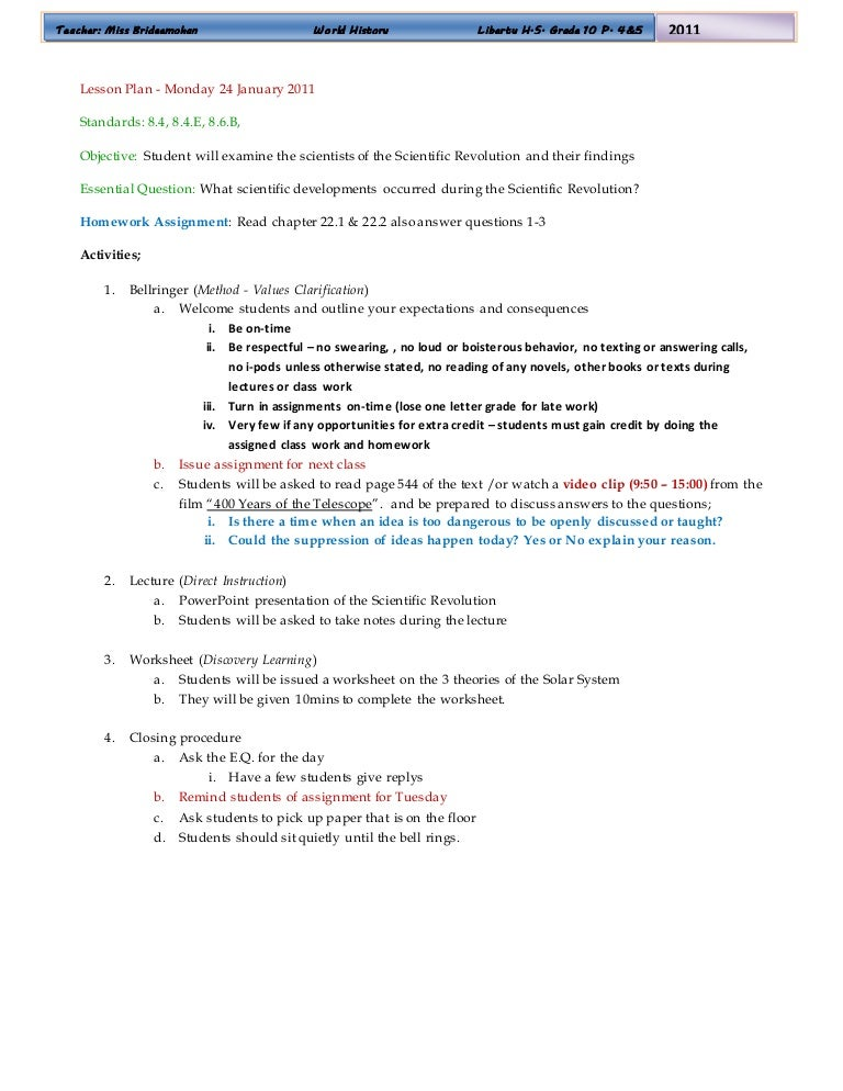 World History Lesson Plans – Values Clarification Worksheet