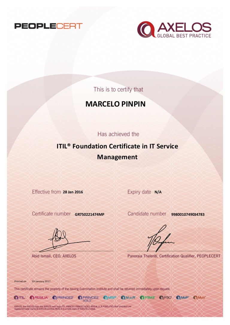 Itil v3 foundation in it service management certificate xflitez Choice Image