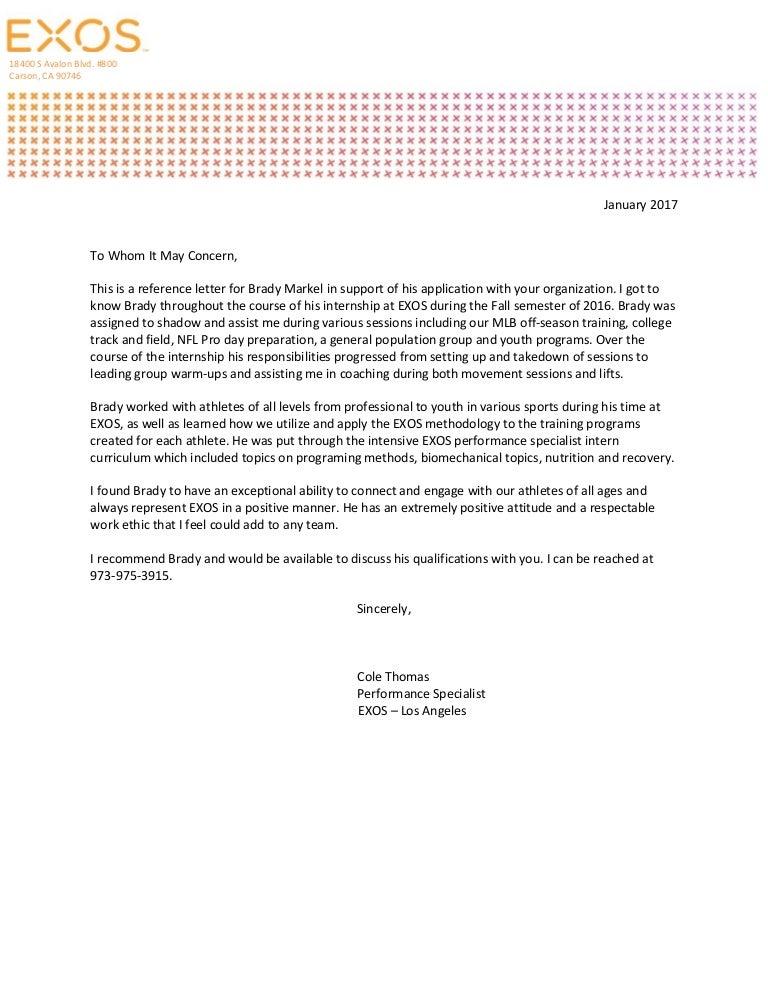 Brady Markel Recommendation Letter