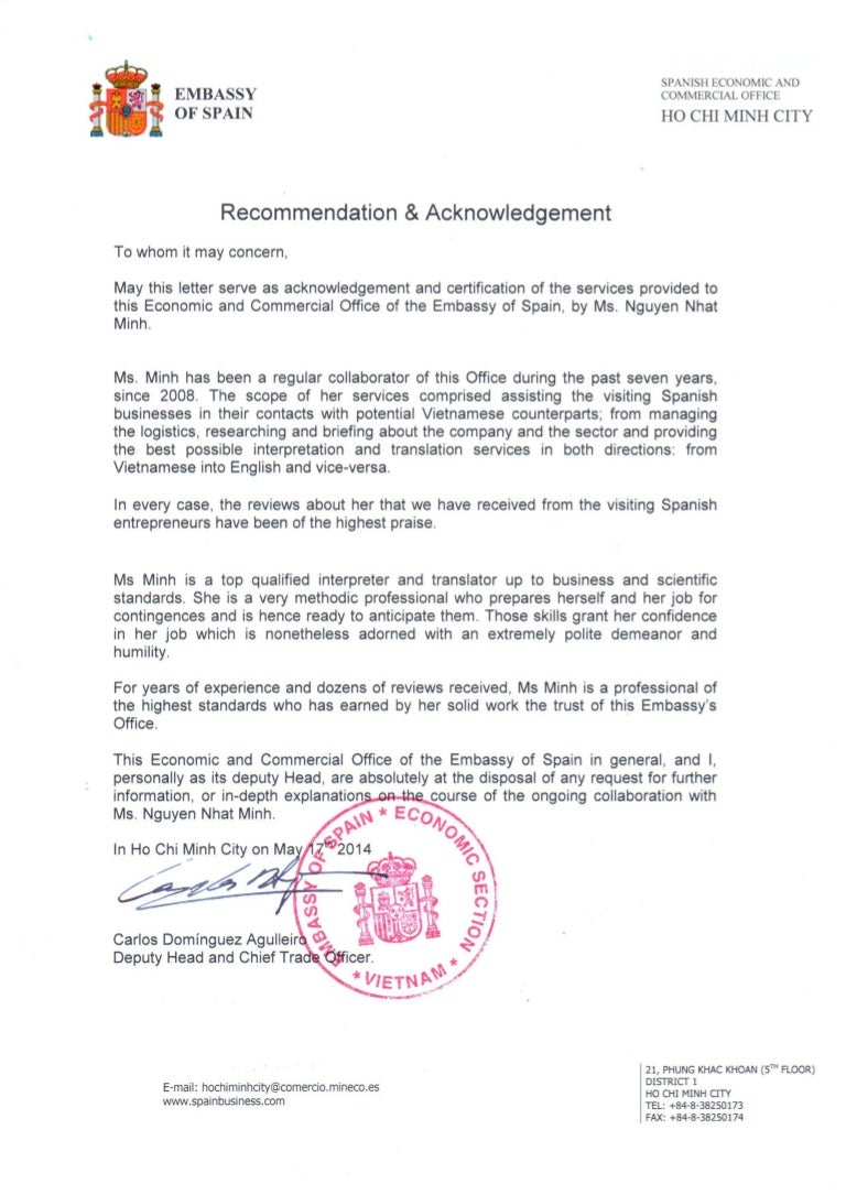 Recommendation Letter From Embassy Of Spain