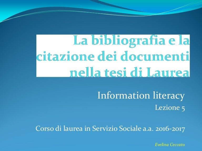 La Bibliografia E La Citazione Dei Documenti Nella Tesi Di