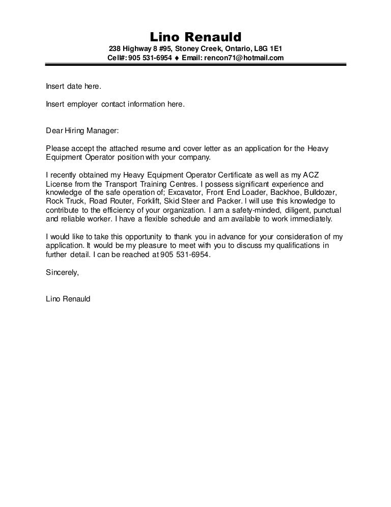 Lino Renaud -Construction ACZ & Machine Operator cover letter and res…