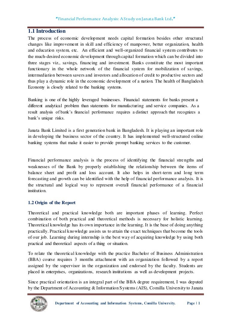 Financial Performance Analysis Of Janata Bank Limited