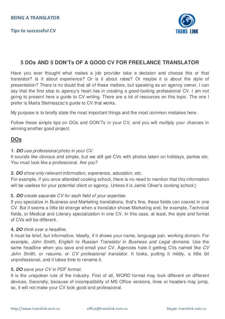 5 DOs and 5 DON\'Ts of a good CV for freelance translator