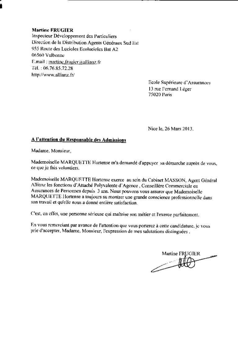 Lettre De Recommandation Allianz