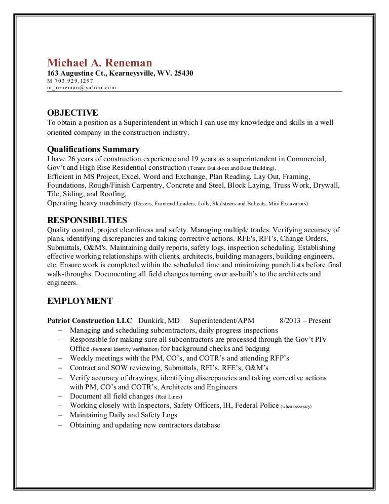 reneman superintendent resume