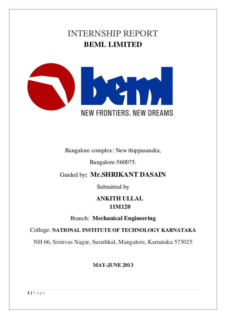 internship report on beml See 0 latest analyst research reports for beml, bse:500048 beml ltd upvote, discuss and comment with all investors for free.