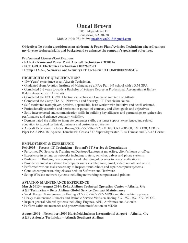 Aviation Electronics Technician Resume  PetitComingoutpolyCo