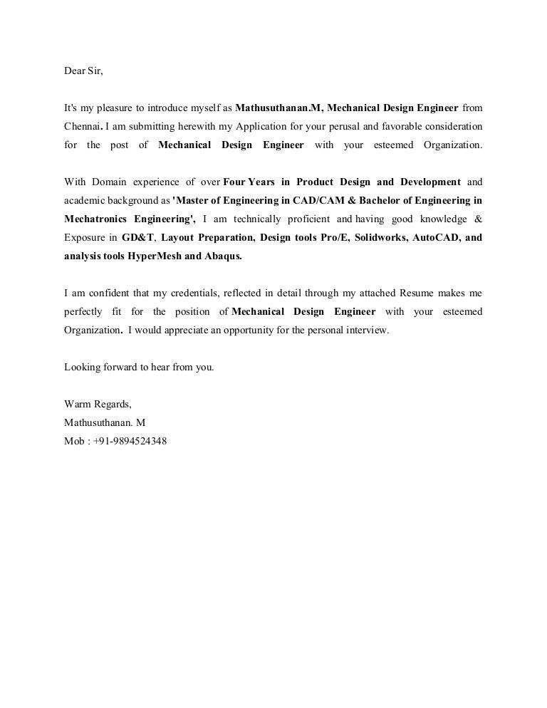 cover letter madhu sample modi - Mechatronics Engineer Sample Resume