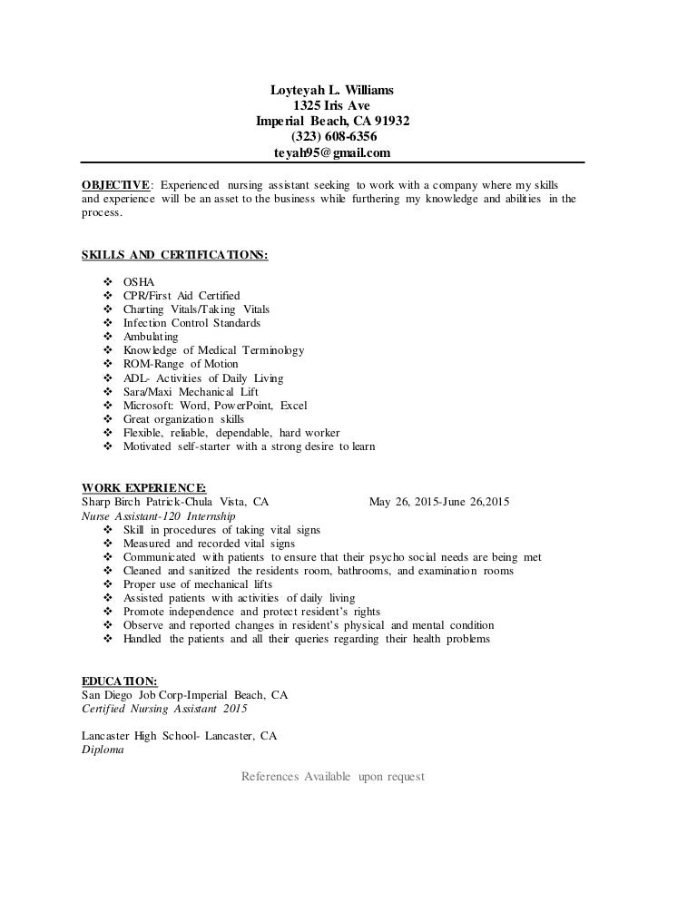 cna resume - Cna Resumes Samples