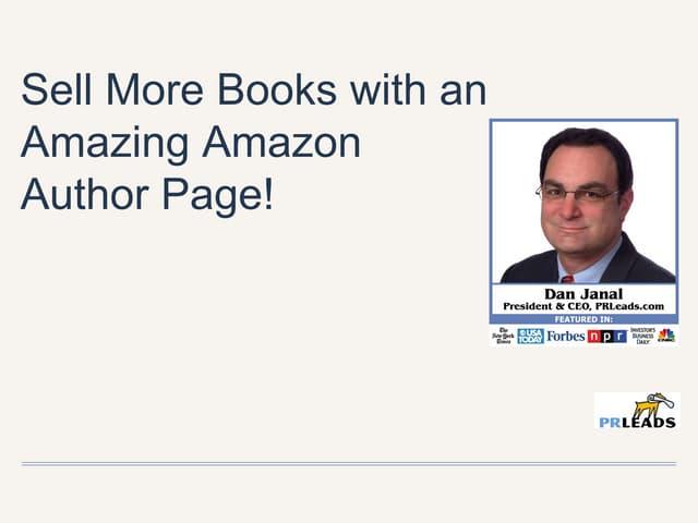 amazon author page webinar