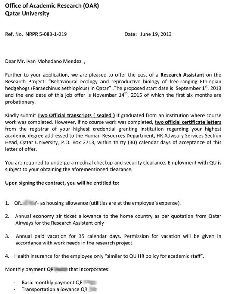 Qatar University - Job Offer
