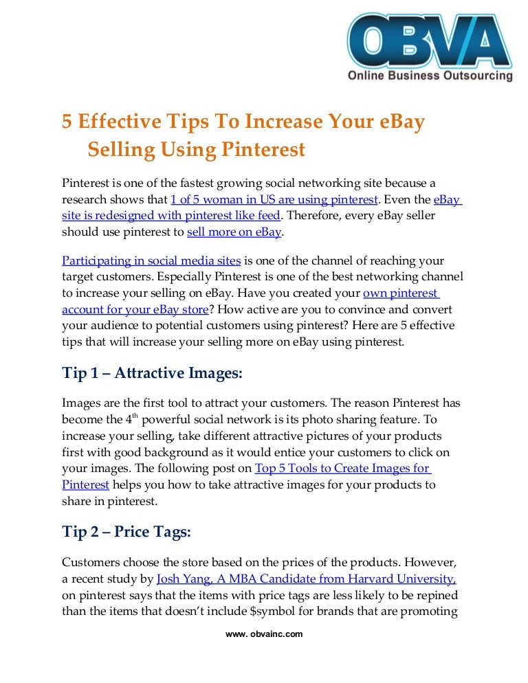 5 Effective Tips To Increase Your Ebay Selling Using Pinterest