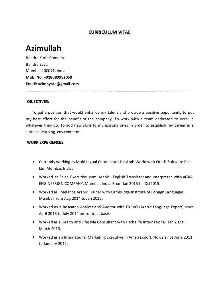 Resume Arabic Expert
