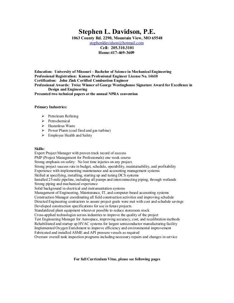 Steve Davidson Engineering Resume